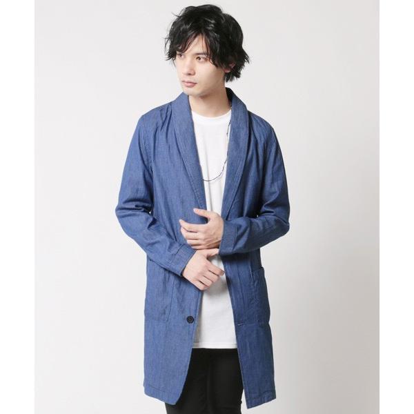 4.5オンスデニム ショールカラー ロングコート メンズ|soyous|02