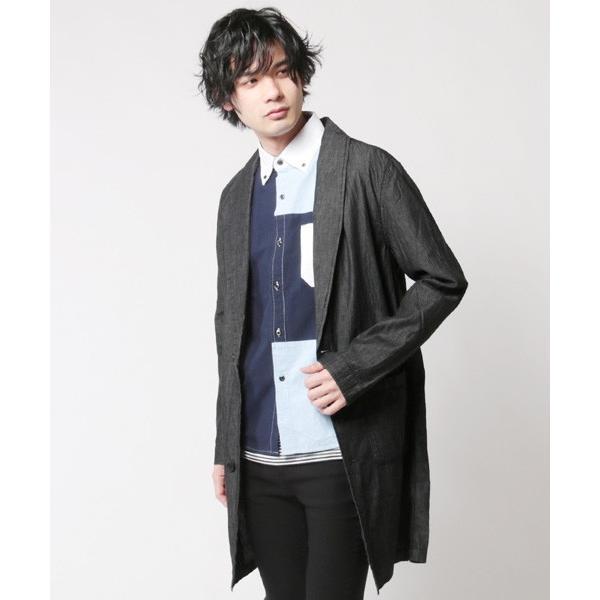4.5オンスデニム ショールカラー ロングコート メンズ|soyous|04
