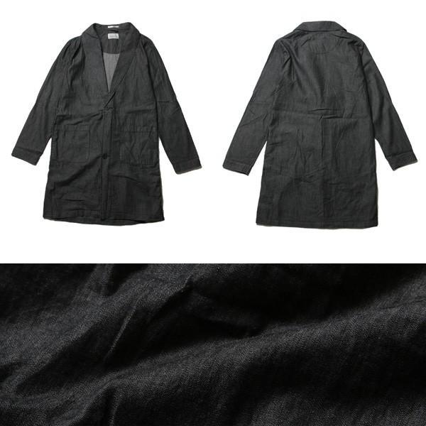 4.5オンスデニム ショールカラー ロングコート メンズ|soyous|05