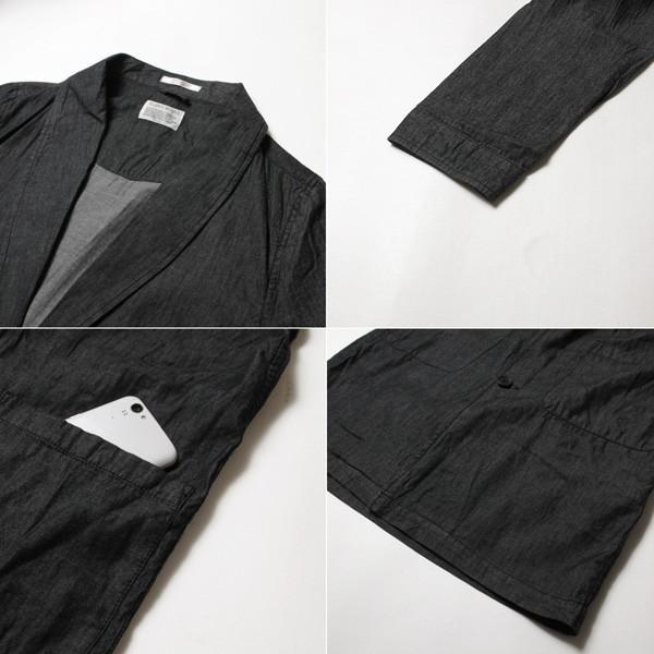 4.5オンスデニム ショールカラー ロングコート メンズ|soyous|06