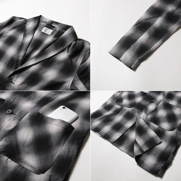 オンブレチェック ショールカラー ロングコート アウター メンズ|soyous|06