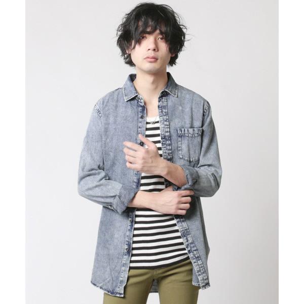 6.5オンス スラブデニム レギュラーカラー ロングシャツ メンズ|soyous|02