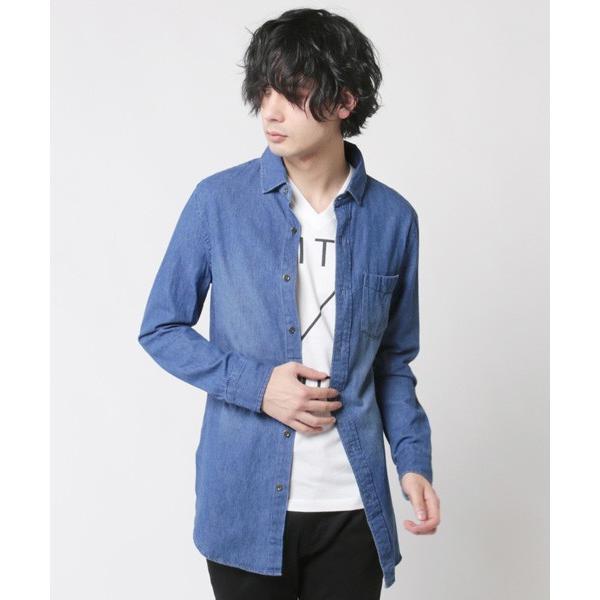 6.5オンス スラブデニム レギュラーカラー ロングシャツ メンズ|soyous|03