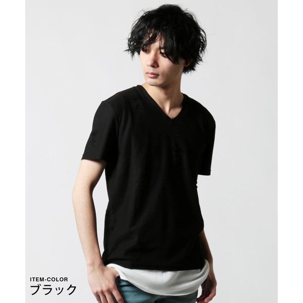 ダメージ クラッシュ リペア 加工 Vネック 半袖 Tシャツ カットソー メンズ|soyous|03