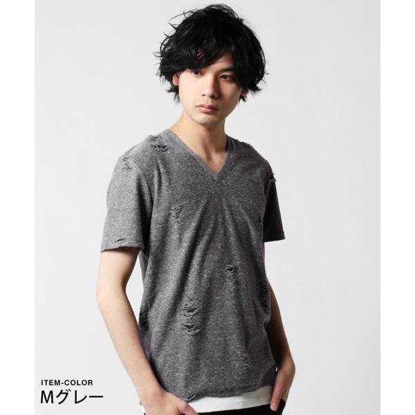 ダメージ クラッシュ リペア 加工 Vネック 半袖 Tシャツ カットソー メンズ|soyous|04