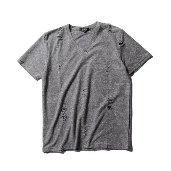 ダメージ クラッシュ リペア 加工 Vネック 半袖 Tシャツ カットソー メンズ|soyous|05