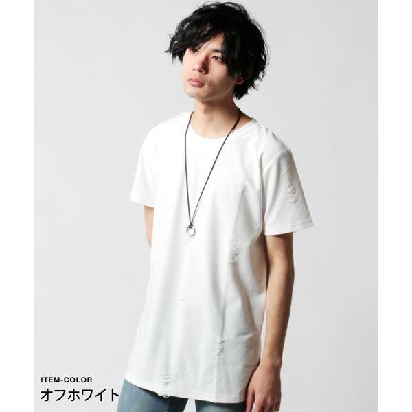 ダメージ クラッシュ リペア 加工 ロング丈 クルーネック 半袖 カットソー Tシャツ メンズ|soyous|02