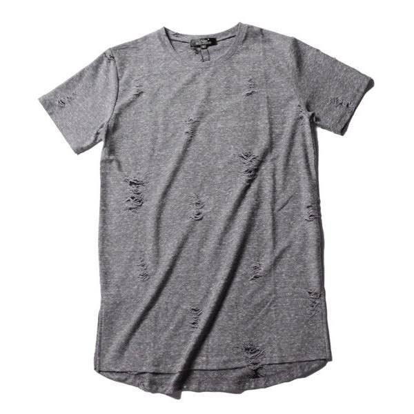 ダメージ クラッシュ リペア 加工 ロング丈 クルーネック 半袖 カットソー Tシャツ メンズ|soyous|05