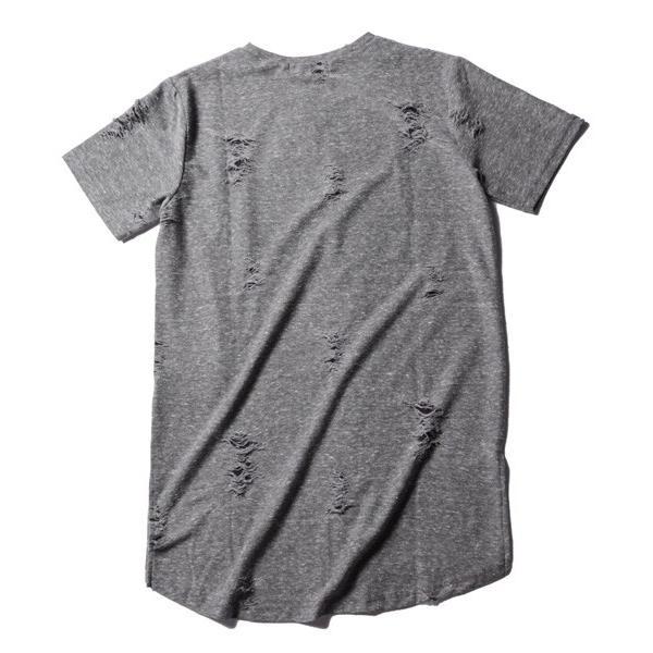 ダメージ クラッシュ リペア 加工 ロング丈 クルーネック 半袖 カットソー Tシャツ メンズ|soyous|06