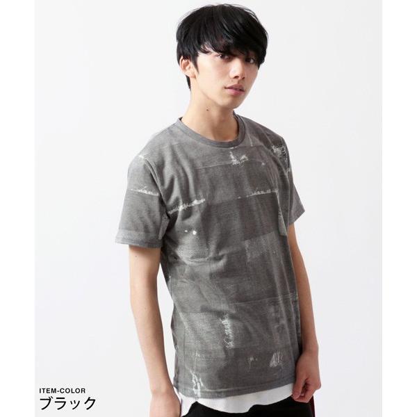 デニム パッチワーク プリント 半袖 Tシャツ メンズ soyous 02