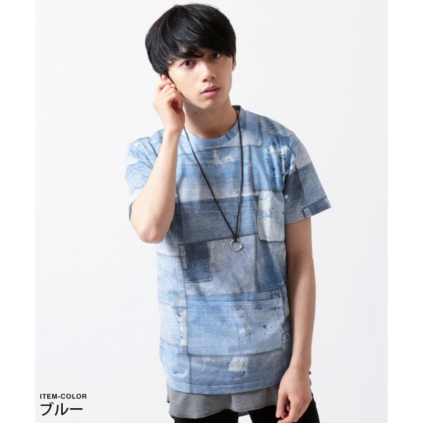 デニム パッチワーク プリント 半袖 Tシャツ メンズ soyous 03