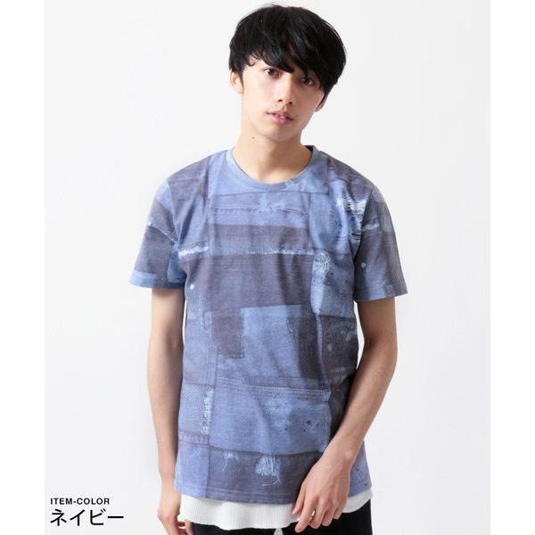 デニム パッチワーク プリント 半袖 Tシャツ メンズ soyous 04