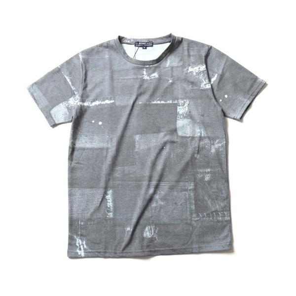 デニム パッチワーク プリント 半袖 Tシャツ メンズ soyous 05