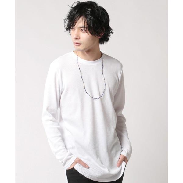 カットソー メンズ ワッフル 裾ラウンド クルーネック 長袖 ロング Tシャツ|soyous|02