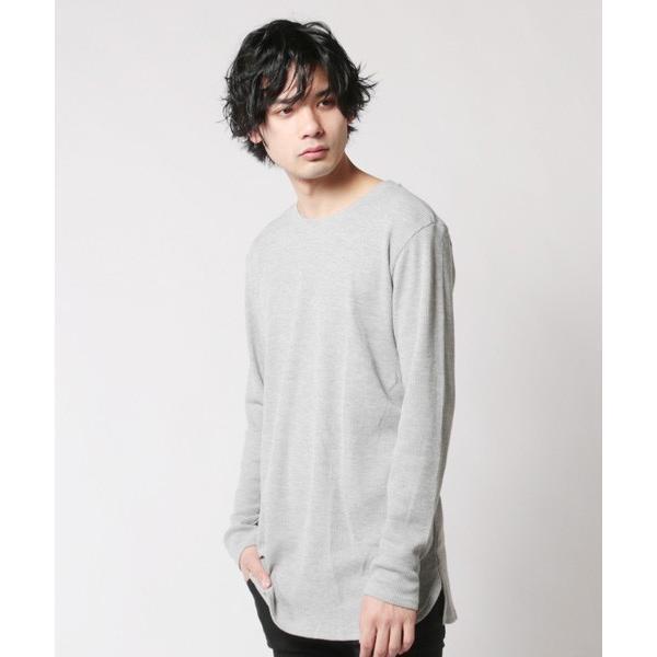 カットソー メンズ ワッフル 裾ラウンド クルーネック 長袖 ロング Tシャツ|soyous|03