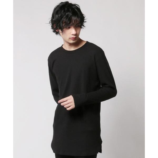 カットソー メンズ ワッフル 裾ラウンド クルーネック 長袖 ロング Tシャツ|soyous|04