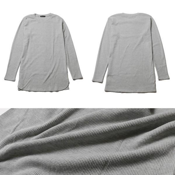カットソー メンズ ワッフル 裾ラウンド クルーネック 長袖 ロング Tシャツ|soyous|05