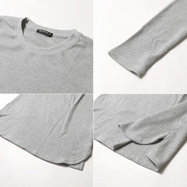カットソー メンズ ワッフル 裾ラウンド クルーネック 長袖 ロング Tシャツ|soyous|06
