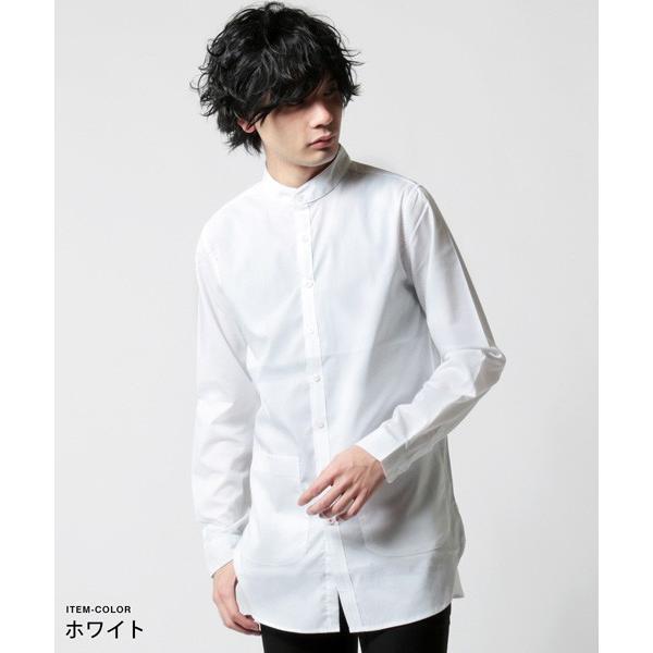 ストレッチ ブロード バンドカラー ノーカラー ロング シャツ メンズ|soyous|02