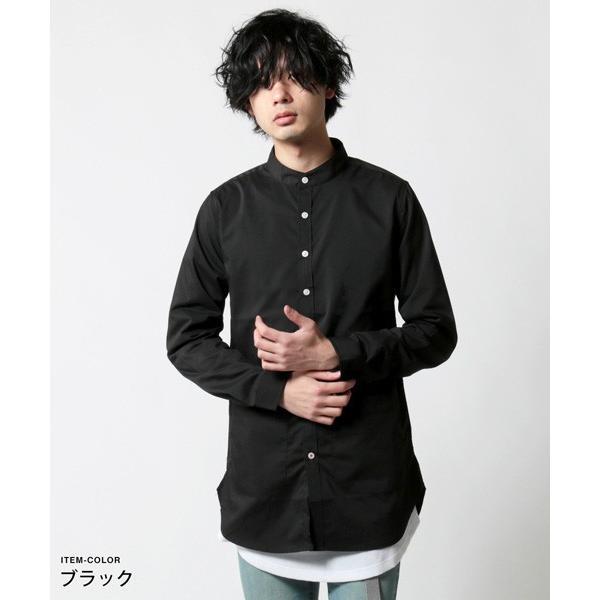ストレッチ ブロード バンドカラー ノーカラー ロング シャツ メンズ|soyous|03