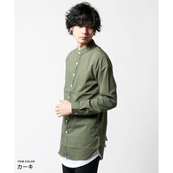ストレッチ ブロード バンドカラー ノーカラー ロング シャツ メンズ|soyous|04