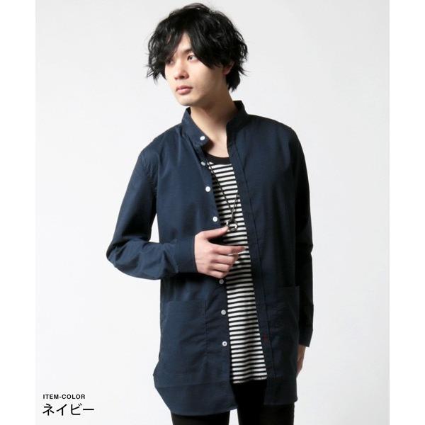 ストレッチ ブロード バンドカラー ノーカラー ロング シャツ メンズ|soyous|05