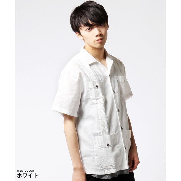 綿麻 ピンタック 半袖 キューバシャツ メンズ|soyous|02