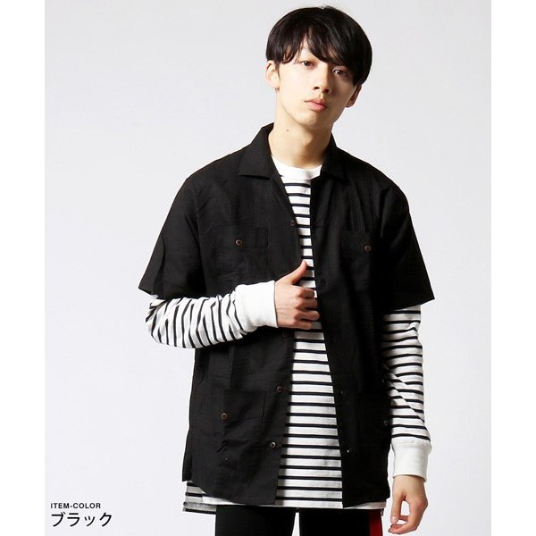 綿麻 ピンタック 半袖 キューバシャツ メンズ|soyous|03