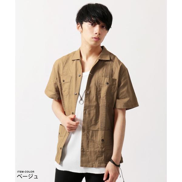 綿麻 ピンタック 半袖 キューバシャツ メンズ|soyous|04