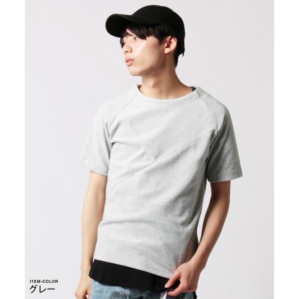 撚り杢 パイル  ブロッキング 半袖 Tシャツ カットソー メンズ|soyous|02