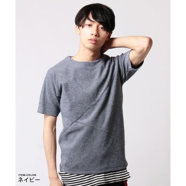 撚り杢 パイル  ブロッキング 半袖 Tシャツ カットソー メンズ|soyous|03