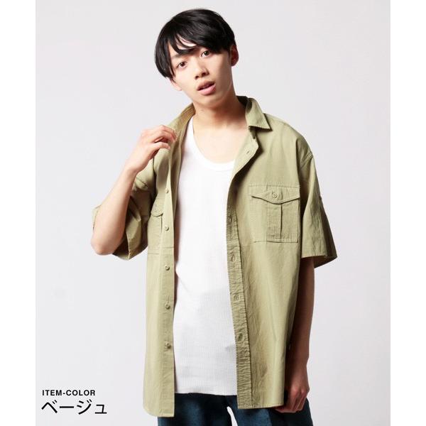 CR ツイル ビッグ ミリタリー シャツ メンズ|soyous|04