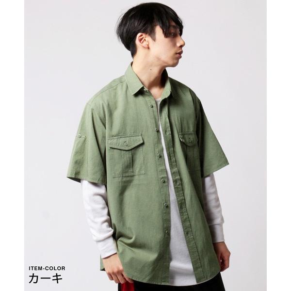 CR ツイル ビッグ ミリタリー シャツ メンズ|soyous|05
