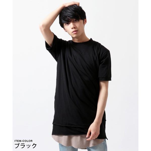 カットオフ フェイクレイヤード 半袖 Tシャツ メンズ|soyous|02