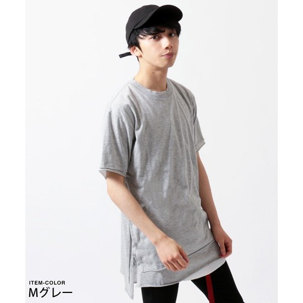 カットオフ フェイクレイヤード 半袖 Tシャツ メンズ|soyous|03
