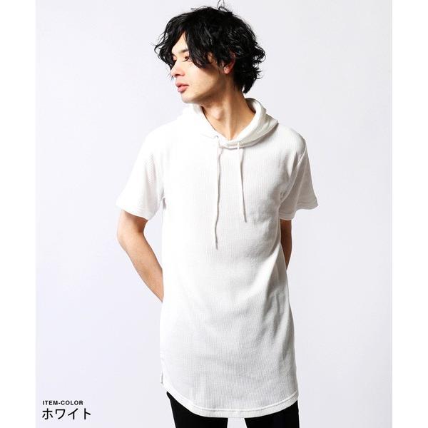 ワッフル パーカー メンズ ロング丈 サイド スリット|soyous|02