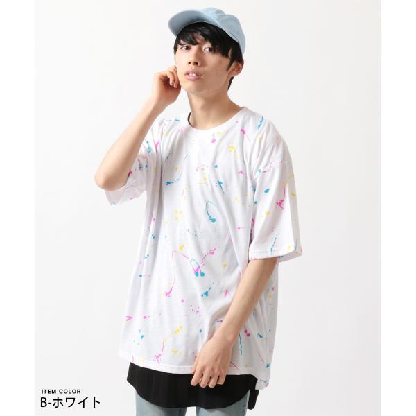 ビッグ 総柄 プリント Tシャツ ワッフル タンクトップ アンサンブル SET|soyous|03