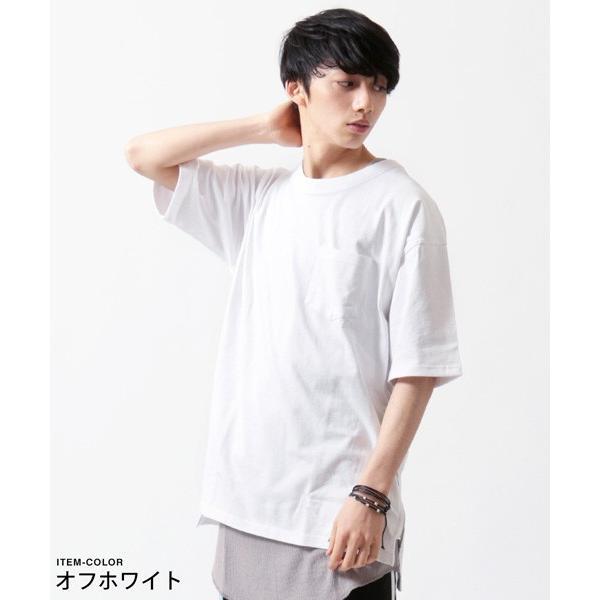 サイドジップ ベビーウェイト クルーネック ビッグ Tシャツ メンズ|soyous|02