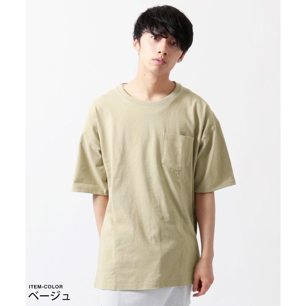 サイドジップ ベビーウェイト クルーネック ビッグ Tシャツ メンズ soyous 03