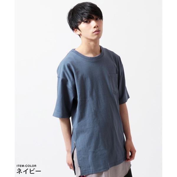 サイドジップ ベビーウェイト クルーネック ビッグ Tシャツ メンズ|soyous|04