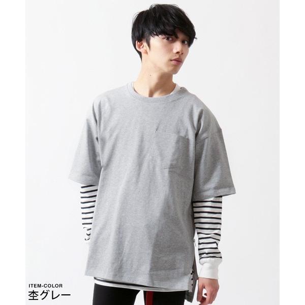 サイドジップ ベビーウェイト クルーネック ビッグ Tシャツ メンズ soyous 05