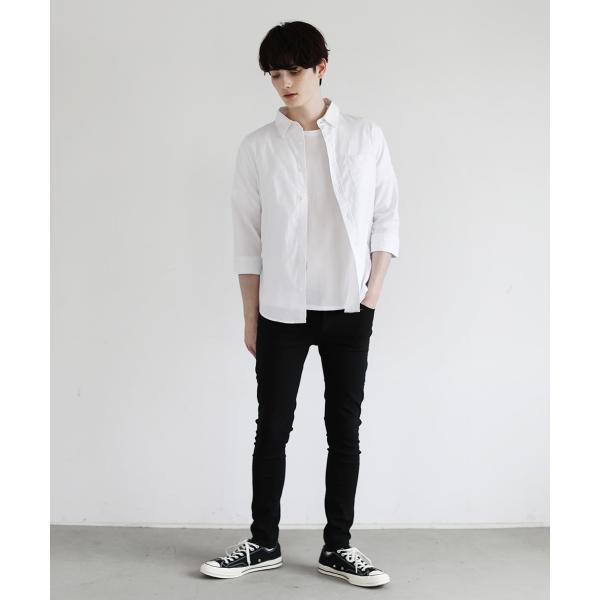 綿麻 ストレッチ シャツ コットン リネン カジュアルシャツ 長袖 七分袖 トップス メンズ|soyous|06