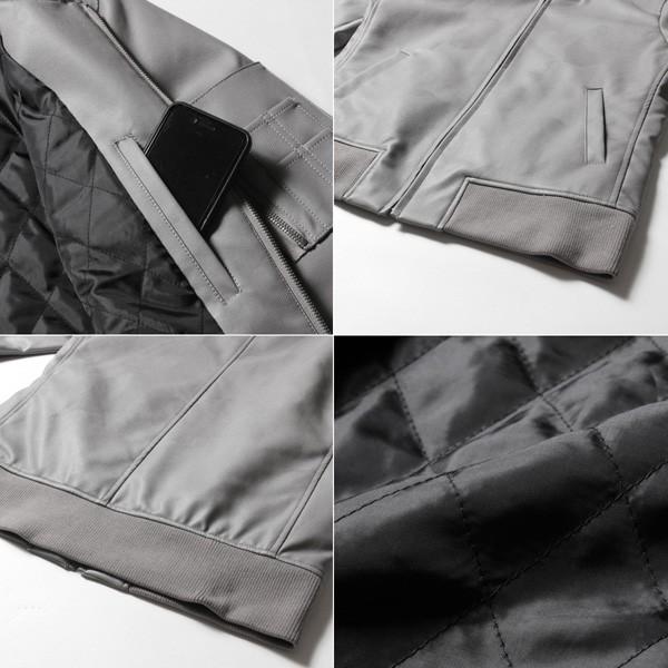 ジャケット メンズ MA-1 フェイクレザー 立体裁断 4Dシルエット MA-1 ジャケット|soyous|06
