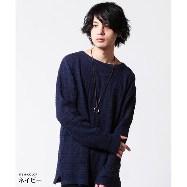 メンズ ニット 春 メンズファッション 総柄 リンクス編み 綿100% 長袖 クルーネック スプリング リラックス シルエット ニット|soyous|03