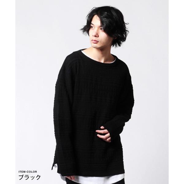 メンズ ニット 春 メンズファッション 総柄 リンクス編み 綿100% 長袖 クルーネック スプリング リラックス シルエット ニット|soyous|04