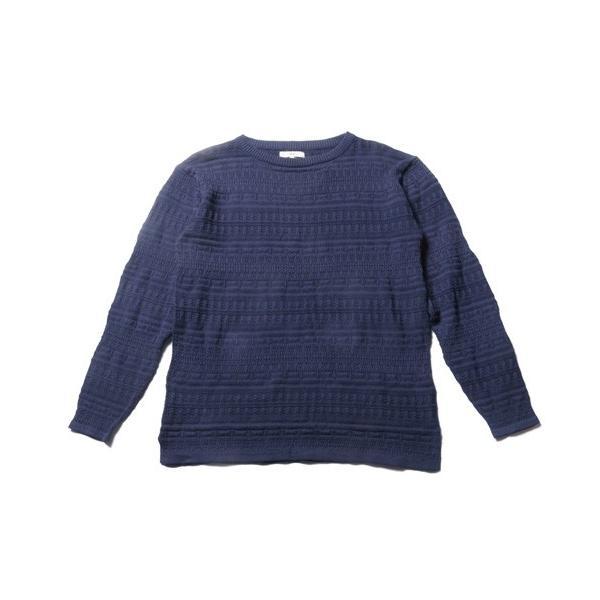 メンズ ニット 春 メンズファッション 総柄 リンクス編み 綿100% 長袖 クルーネック スプリング リラックス シルエット ニット soyous 05