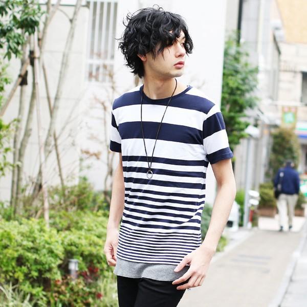 先染め ボーダー 半袖 クルーネック Tシャツ カットソー メンズ 春 夏|soyous|05