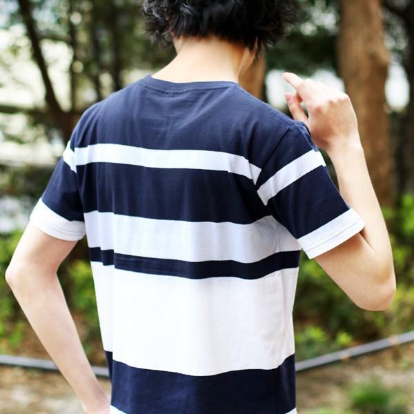 先染め ボーダー 半袖 クルーネック Tシャツ カットソー メンズ 春 夏|soyous|06