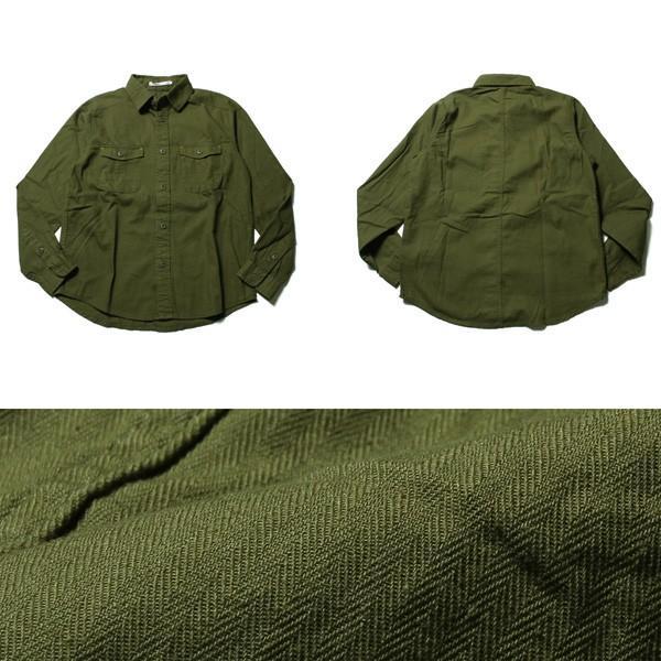 シャツ メンズ カットソー メンズ アンサンブル 2枚組 ヘリンボーン ツイル ミリタリー 春 夏 秋 冬|soyous|05