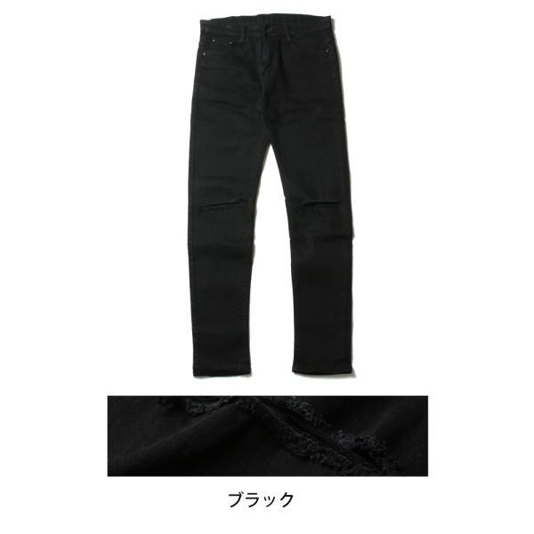 クラッシュ 加工 ブラック 黒 ストレッチ スキニーパンツ メンズ|soyous|05
